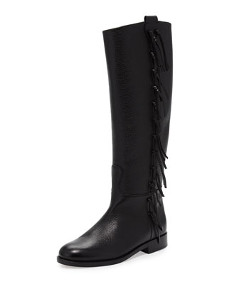 Side Fringe Flat Knee Boot, Black