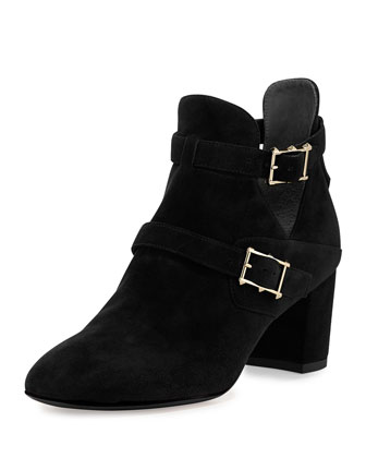 Suede Double-Buckle Ankle Boot, Black