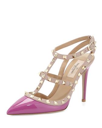 Rockstud Patent Sandal, Violet