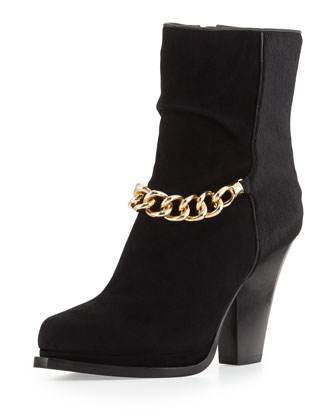 Berlin Chain-Strap Ankle Boot, Black