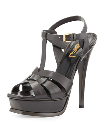 Tribute Leather Platform Sandal, Earth
