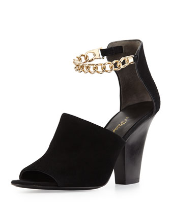 Berlin Ankle Chain Suede Sandal, Black