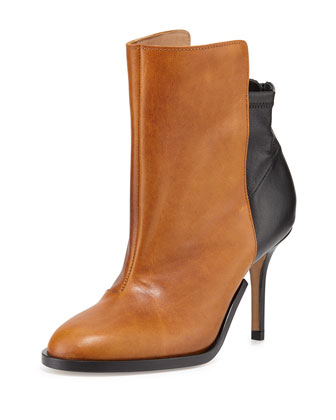 Bicolor Stretch-Back Ankle Boot, Caramel/Black