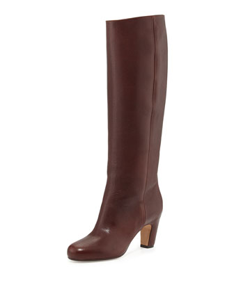 Pull-On Leather Knee Boot, Dark Brown/Burgundy