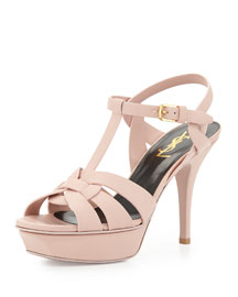 Tribute Mid-Heel Leather Platform Sandal, Pale Blush