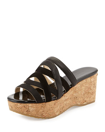 Nita Strappy Cork Wedge Slide, Black