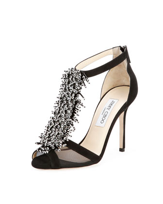 Feline Beaded T-Strap Sandal, Black
