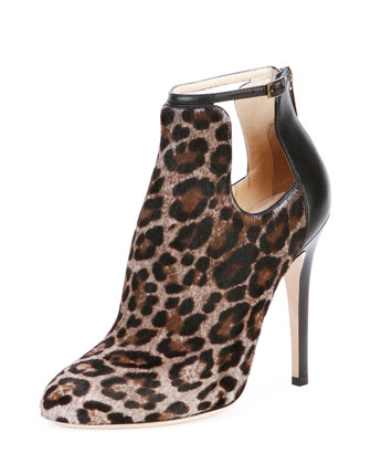 Luther Leopard-Print Cutout Calf Hair Bootie