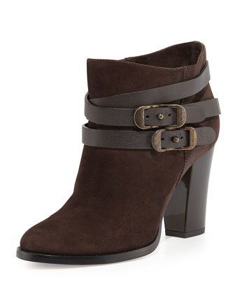 Melba Wrap-Strap Suede Ankle Boot, Ebony