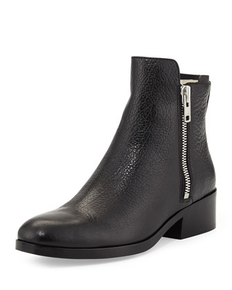 Alexa Shearling-Lined Leather Ankle Boot, Black