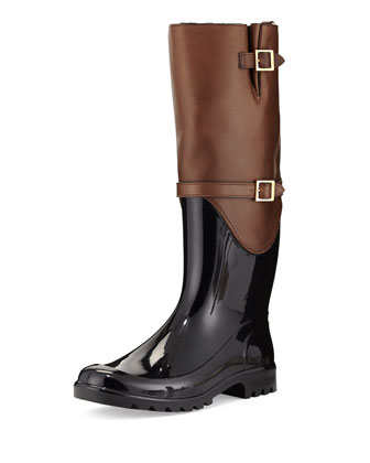 Carson Rabbit Fur-Lined Rain Boot, Antelope