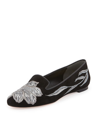 Embroidered Velvet Smoking Slipper, Black/Silver