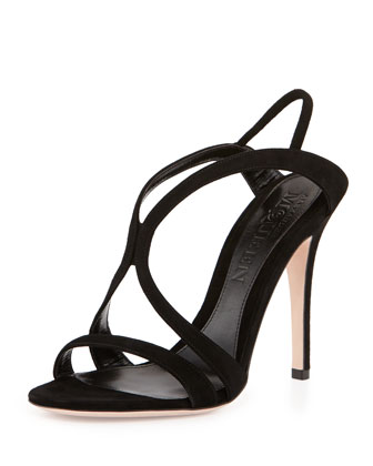 Strappy Suede Crisscross Sandal, Black