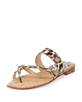 Susa Leopard-Print Snake Flat Thong Sandal, Brown/Black