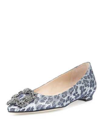 Hangisi Shimmery Crystal-Buckle Flat, Leopard