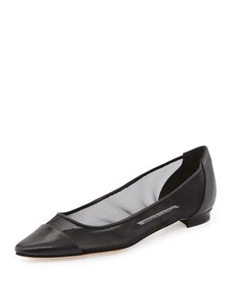 Mesh Cap-Toe Ballerina Flat