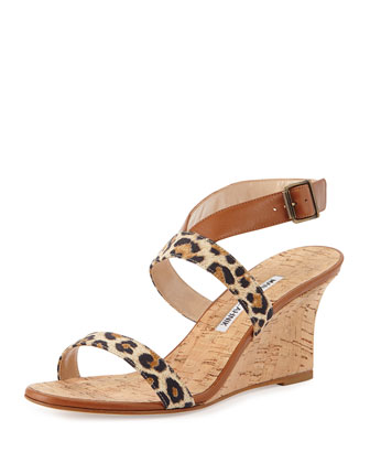 Sales Crisscross Leopard-Print Leather Cork Wedge