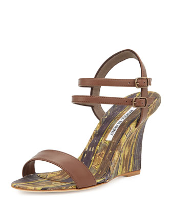 Amim Cork Wedge Sandal, Brown