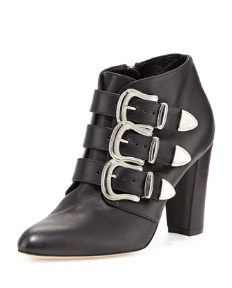 Zavattini Triple-Buckle Ankle Boot