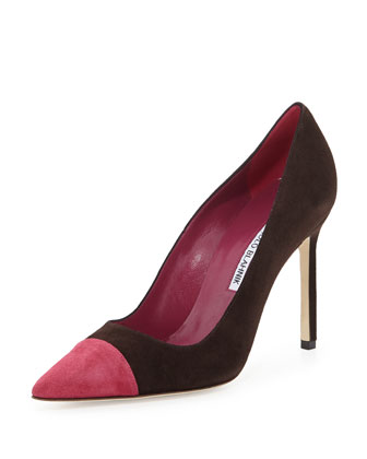 Bipunta Suede Cap-Toe Pump, Brown/Pink