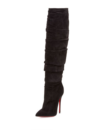 Ishtar Botta Ruched Suede Red Sole Boot