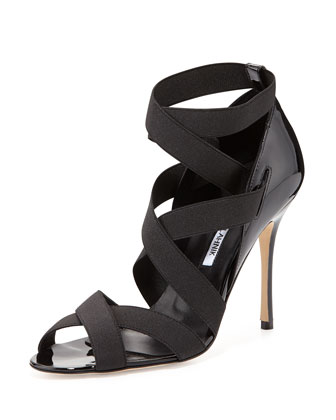 Platee Strappy Elastic Sandal, Black