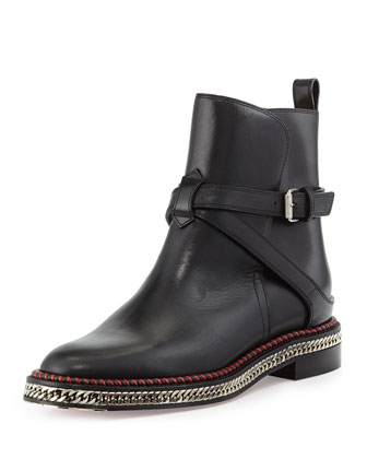 Chain-Midsole Red Sole Ankle Boot
