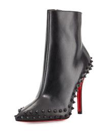 Wiletta Spike-Trim Leather Red Sole Bootie, Black