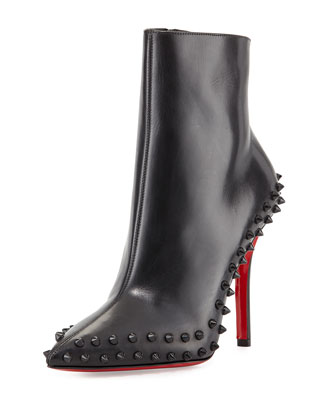 Wiletta Spike-Trim Leather Red Sole Bootie, Black