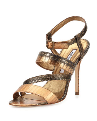 Felix Strappy Snakeskin Sandal, Bronze