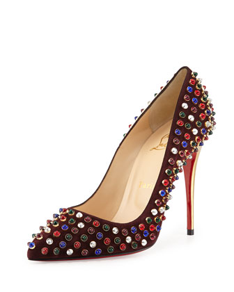 Follies Cabo Suede Red Sole Pump, Wine
