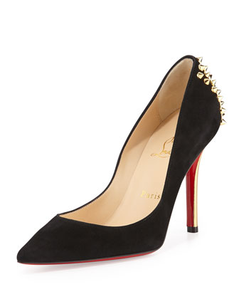 Zappa Suede Spiked-Heel Red Sole Pump, Black/Gold