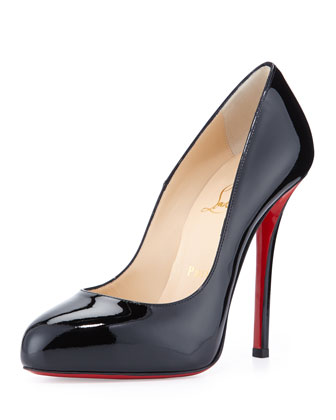 Argotik Patent Red Sole Pump, Black