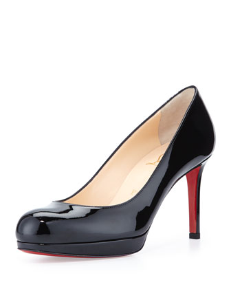 New Simple Patent Red Sole Pump, Black