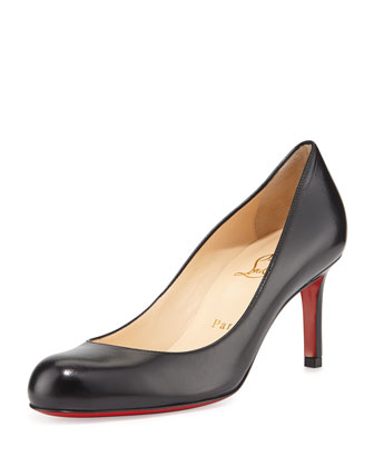 Simple Leather Red Sole Pump, Black