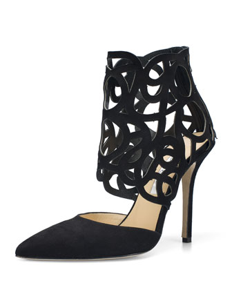 Clavoinne Suede Cutout Pump, Black