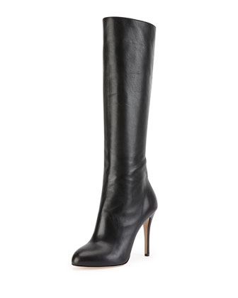 Hannah Leather Knee Boot, Onyx