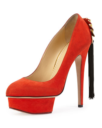 Fantastic Dolly Suede Fan Tassel Pump, Red