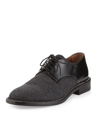 Flannel Lace-Up Oxford, Dark Gray
