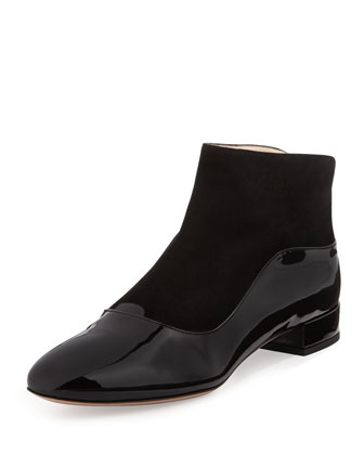 Patent/Suede Ankle Boot, Black
