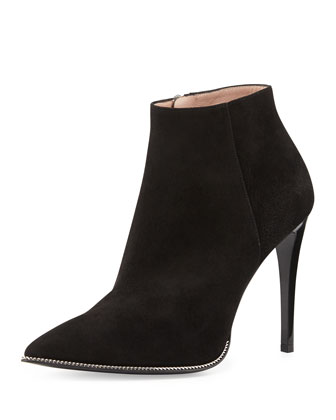Chain-Trim Suede Ankle Boot, Black