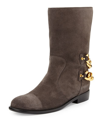 Double Chain-Back Suede Ankle Boot, Gray