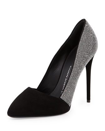 Crystal Embellished Pointed-Toe Pump, Black