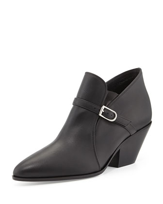 Buckled Leather Ankle Boot