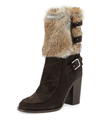 Merli Fur Triple-Buckle Boot, Beige/Brown