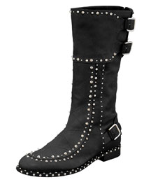 Baltazar Stud Buckle Mid-Calf Boot, Black/Ruthenium