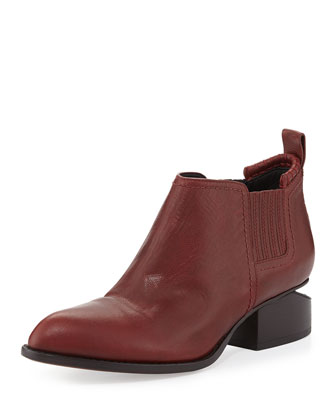 Kori Leather Lift-Heel Ankle Boot, Blood Orange