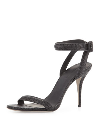 Antonia Textured Leather Ankle-Wrap Sandal, Black