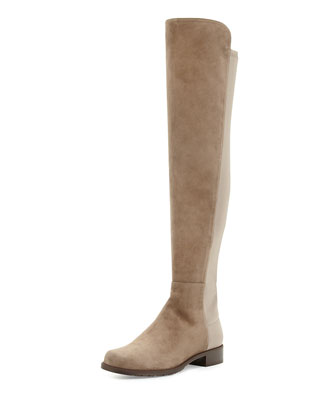 50/50 Suede Over-the-Knee Boot, Praline (Made to Order)