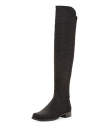 50/50 Pindot Over-the-Knee Boot, Black (Made to Order)